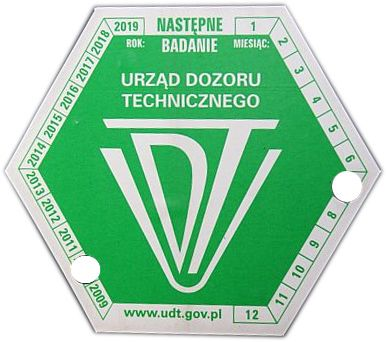 Naklejka, oznakowanie UDT wózek widłowy.