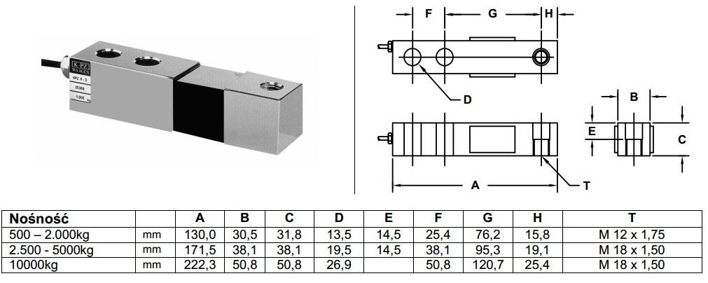Czujniki tensometryczne KPZ 502E-2 ogniwa.