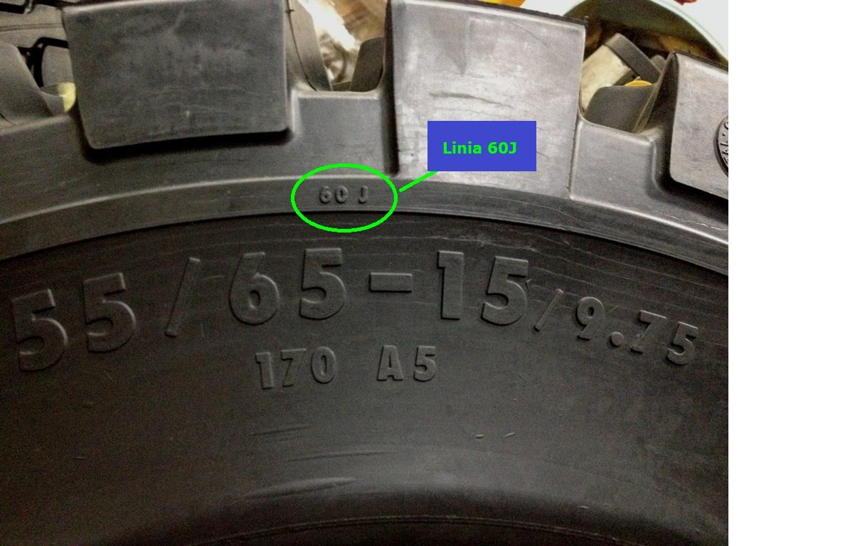 Linia 60J oznaczenie zużycia opony superelastycznej.