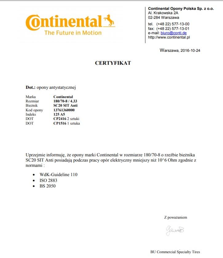 certyfikat opony antystatyczne wozki widlowe