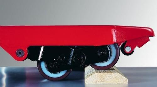 Ręczny wózek paletowy, rolki podwójne.