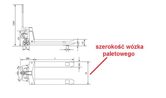 Wózki paletowe, paleciaki 520mm, 540mm szerokość.